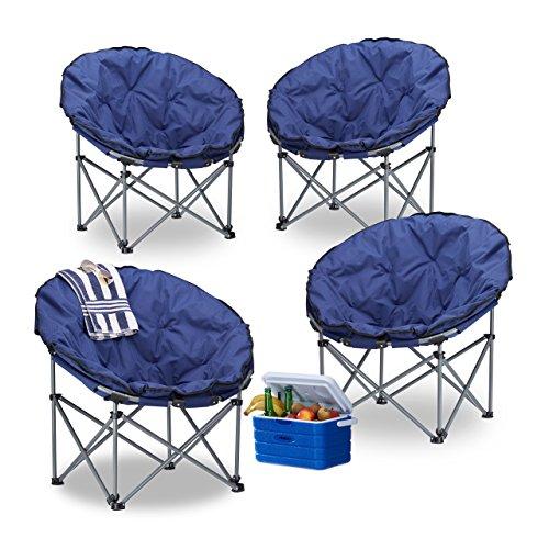 4x Campingstuhl Moonchair, 120 kg belastbar, XXL Campingsessel, faltbar, Tragetasche, dunkelblau,...