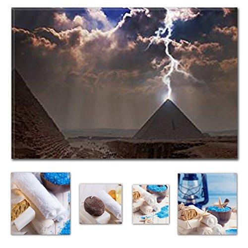 lumiere-eco-art-mural-sur-toile-bundle-derriere-lightning-pyramides-degypte-60-x-90-cm-pour-decorati