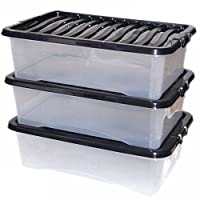 CrazyGadget® 32L 32 Litre Large Big Plastic Storage Clear Box Strong Stackable Container - Made In U.K. - Pack of 3