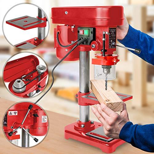 Tischbohrmaschine - 350W, mit Bohrfutter, Spannbereich Ø 1,5-13 mm, Bohrtisch stufenlos, schwenkbar und neigbar, Bohrtiefe 50 mm, 5 Geschwindigkeiten - Säulenbohrmaschine, Standbohrmaschine