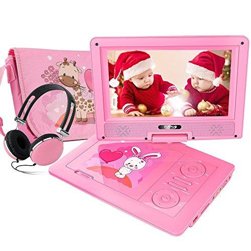 FUNAVO 9'' Tragbarer DVD-Player, Schwenkbaren Bildschirm, 5 Stunden Akku, Unterstützt SD-Karte und USB, mit Kopfhörer, Tragetasche, Auto-Ladegerät (Rosa)