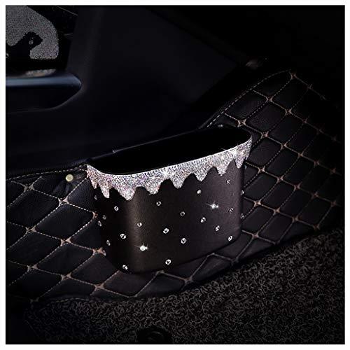 SUBIZ Diamant-Multifunktionsauto-Mülleimer-Auto-hängender Auto-Speicher-Fach-Kasten-weiblicher Speicher-Mülleimer-Beutel-auslaufsicherer Auto-Abfall-Kasten (Color : White) -