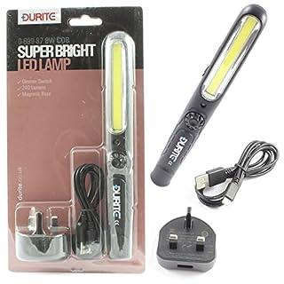 LED COB Arbeitsleuchte/Taschenlampe kabellos wiederaufladbar Durite 0–699–87Slimline USB