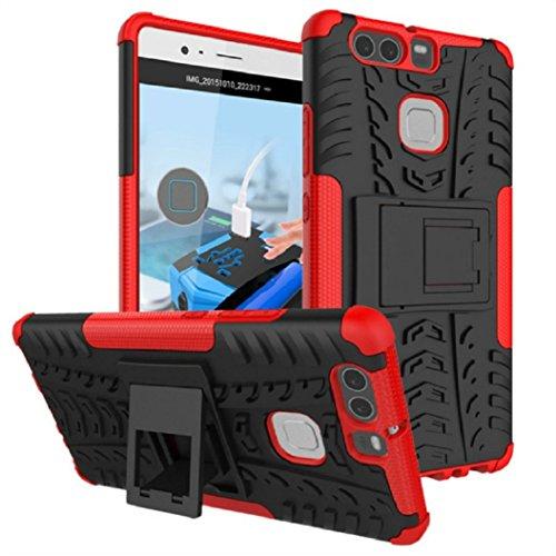 Huawei P9 Cover, Panphy Custodia Bumper Tire Schema Cover in silicone Protezione Kickstand goccia per Huawei P9 Protettiva Custodia, Rosso