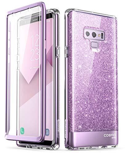 i-Blason Hülle Kompatibel für Samsung Galaxy Note 9 Glitzer 360 Grad Handyhülle Bumper Case Glänzend Schutzhülle Cover [Cosmo] mit integriertem Displayschutz, Lila