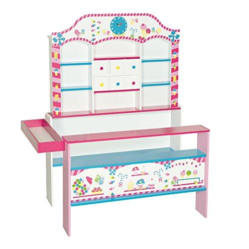 roba Kaufladen \'Candy-Shop\', Kinder Süßigkeiten- & Kaufmannsladen, Verkaufsstand bedruckt mit 6 Schubladen, Uhr, Theke & Seitentheke