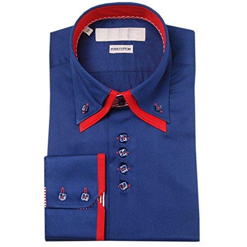 Lyon Becker® Chemises pour hommes coupe Slim Fit design italien, habillées et décontractées, manches longues, Tailles S M L XL - Navy-DC16