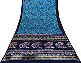 Vintage Indianer Bestickt Saree Pure Silk Blue Sari