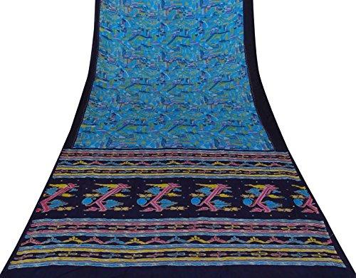 Vintage Indianer Bestickt Saree Pure Silk Blue Sari Verwendet Craft Stoff 5 Yards -