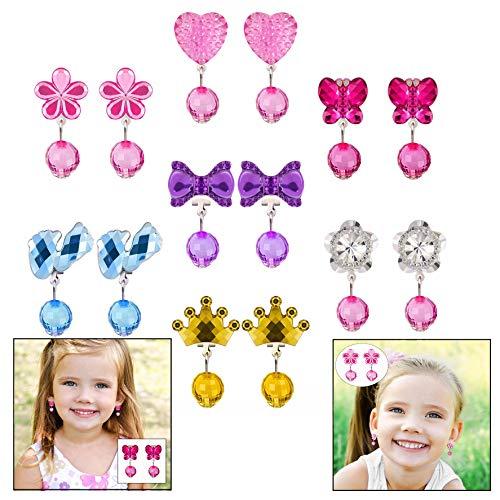LHKJ 7 Paare Mädchen Ohrring Clip Set,Prinzessin Klipp Ohrringe Schmuck für Kinder