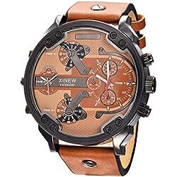 Rcool 2017 Luxus Edelstahl Uhr Leder Datum Analog Quarz Herren Armbanduhren Khaki für Männer