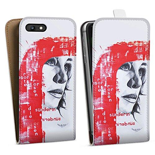 Apple iPhone X Silikon Hülle Case Schutzhülle Frau Gesicht Art Downflip Tasche weiß