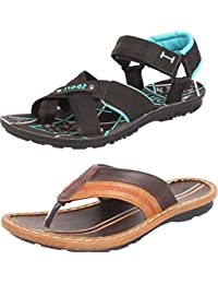 Maddy Men's Perfect Stylish 2 Black Sea Green & Brown Casual Sports Sandals