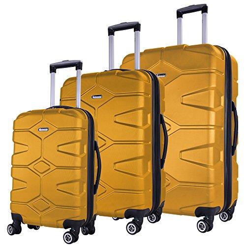 SHAIK® SH002 3-tlg. DESIGN RAZZER Hartschalen Kofferset, Trolley, Koffer, Reisekoffer, 50/80/120 Liter, 4 Doppelrollen, 25% mehr Volumen durch Dehnfalte (Gelb)