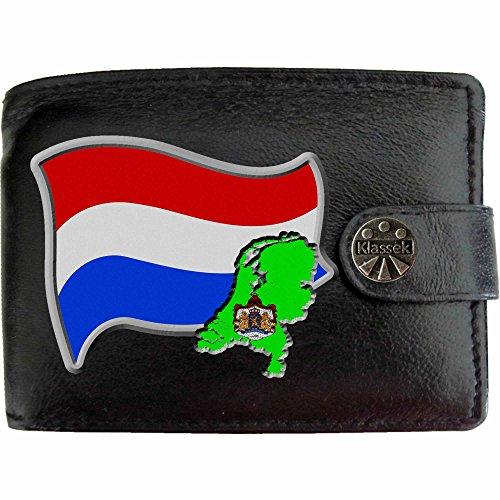 Niederlande Flagge KLASSEK Herren Geldbörse Portemonnaie Brieftasche Holländisch Wappen aus echtem Leder schwarz Nederland Geschenk Präsent Mit Metallbox