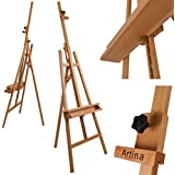Artina® Professional Studio Easel Barcelona - 225cm (88.6'') Solid Beechwood - Painting /Display - For max 120cm Canvases