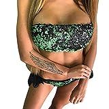 Italily Costume da bagno bikini con paillettes con paillettes Bikini con paillettes divise (Green, L)