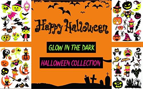 COKOHAPPY 50+ Sortiert Leuchtend Temporäre Tattoo LEUCHTEN IM DUNKELN Halloween Kostüm Party Geist Kürbis Spinne Fledermäuse - 4 (Kostüm Fledermaus Nase)