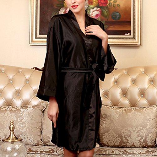 Zhhlinyuan Womens Satin Dressing Gown Kimono Robe Wedding Kimono Nightwear Sleepwear Bathrobe Black