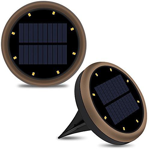 2 PCS 8 LED Lampes de Spot Enterré, Kungix Lampe Solaire Plus ...