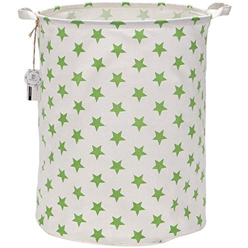 Sea Team 19.7 Inch Large Sized Waterproof Coating Ramie Cotton Fabric Folding Laundry Hamper Bucket Cylindric Burlap Canvas Storage Basket with Stylish Colorful Design (Green Star)