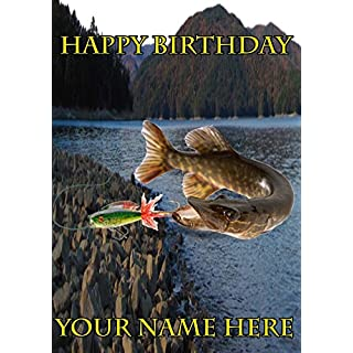 Pike Fish Angler Fishing nbc14 Happy Birthday A5 Personalised Greeting card POSTED BY US GIFTS FOR ALL 2016 FROM DERBYSHIRE UK
