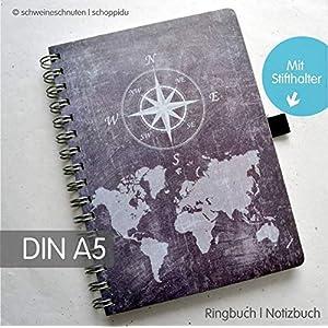 Ringbuch Notizbuch DIN A5 Weltkarte Tafellook