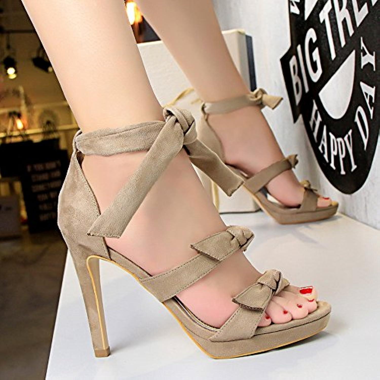 Zapatos De Tacon Alto Impermeable De Mesa, Nudo De Mariposa, Palabra Hueca Con Sandalias,Khaki,Eu36Cn37