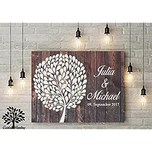 70x50 cm, Gästebuch, Hochzeitsbaum, Wedding Tree, Alternative Gästebuch, Leinwanddruck - Baum, Leinwand, Keilrahmen und Holz Motiv
