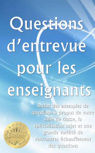 Couverture du livre Questions d'entrevue pour les enseignants