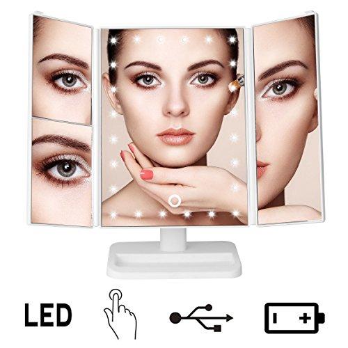 Vergrößerungsspiegel mit beleuchtung / Kosmetikspiegel 3 Fach Vergrößung / Make-up-Spiegel mit 24 LEDs Beleuchtung / Faltbare Beleuchtet Schminkspiegel 180° Drehbarer / Einstellbar Dimmbar Standspiegel / Batteriebetrieben und USB Aufladbar
