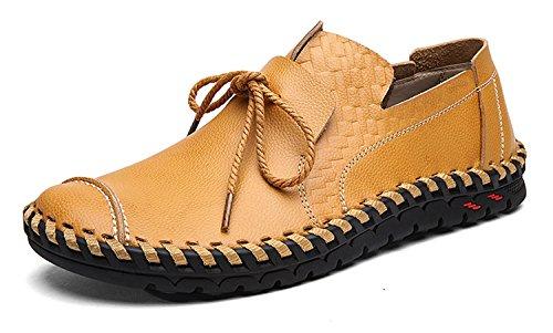 HENGJIA Herren Bootsschuhe Slip On Mokassins Rindleder Flache Schuhe Loafers Slipper Gold-2