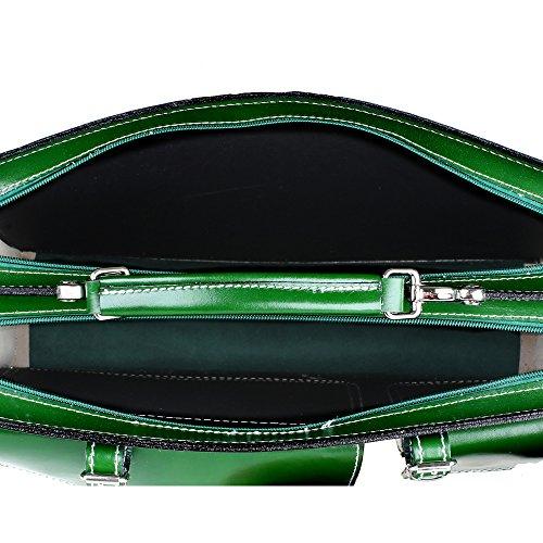 Unisex Aktentasche, Business Handtasche mit Schulterriemen aus echtem Leder Made in Italy Chicca Borse 38x29x11 Cm Grün