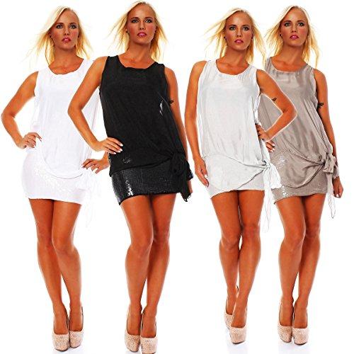 2 lagiges elegantes Damen Minikleid , Kleid ohne Arm, Sommerkleid aus Seide / Viskose Cappuccino