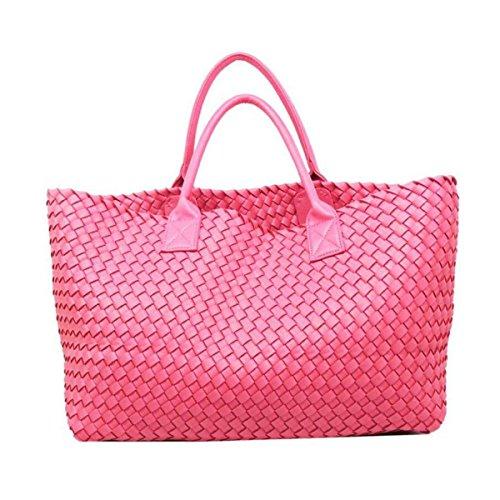 NBAG Fashion Classic Handmade Doppel Stricken Handtaschen Big Bags Europa Und Die Vereinigten Staaten Tragbare Damen Große Taschen Große Kapazität Casual Upscale Luxus,Pink - Staat Stricken
