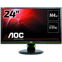 "AOC G2460PG - Monitor gaming de 24"" (G-Sync, 144Hz, DP, ajustable, 1MS), color negro y verde"