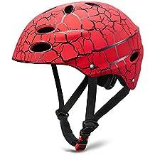 SKL Skate Helmet Adjustable Skateboard Helmet Roller Skating Scooter Cycling Helmet with ABS shell for Kids & Youth (Red, 56-58cm) …