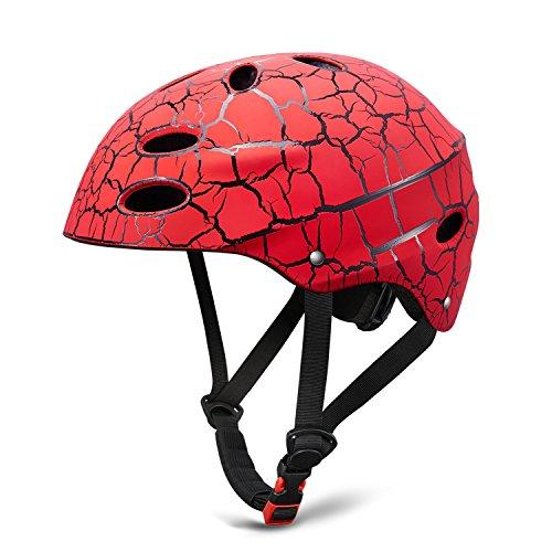 Skate Helmet Skateboard ajustable Helmet Roller Skate Scooter Casco ciclista con carcasa de ABS para niños y jóvenes, Color rojo,Talla 56-58 cm
