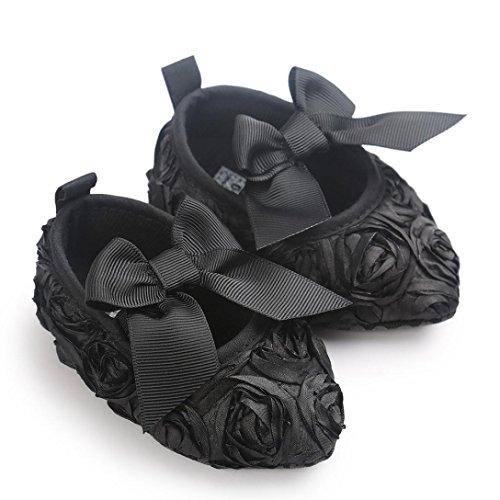 Babyschuhe Longra Baby Mädchen Bowknot weiche Sohle Prinzessin Schuh Soft Shoes Flats Schuhe Lauflernschuhe Krippeschuhe(0 ~18 Monate) Black