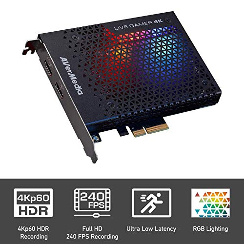 AVerMedia 4K Live Gamer, 4Kp60 HDR, PCI-E, latencia ultra baja, ideal para Xbox, PlayStation y PC con PowerDirector 15 (GC573)