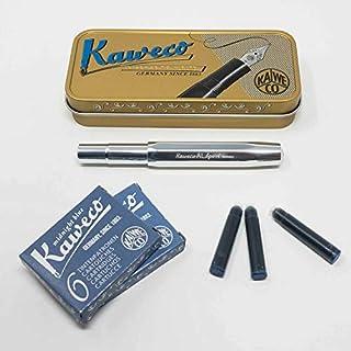 Kaweco Al Sport Füllhalter für Patronen aus Aluminium roh achteckig | Füllhalter mit Feder M | Kaweco Set mit Füller Patronen | 12 Patronen mit Kaweco Tinte in Blau GRATIS