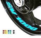 8 X Felgen Motorrad Bike Aufkleber Sticker Decal SUZUKI SV 1000 für Vorder und Hinterrad Innenrand Aufkleber Sticker Felgen Set Tuning