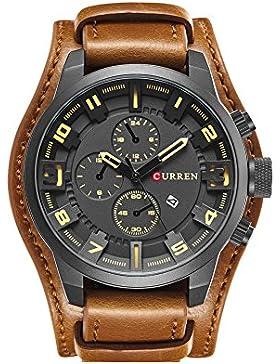 reife analoge Uhr des Quarzes der Männer für Männer schwarzen Zifferblatt braun Lederband Uhr Datum Geschäftsarmbanduhr