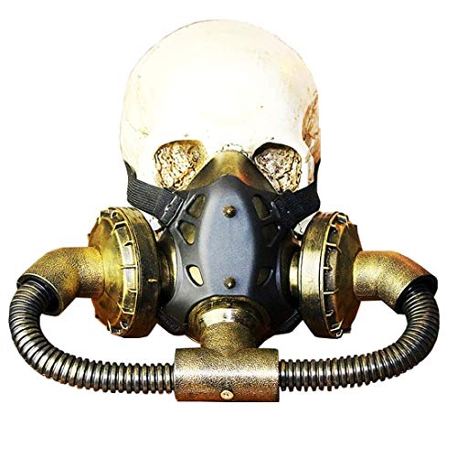 Jsfnngdv Biogefährdung Steampunk Gasmaske Brille Spikes Skelett Krieger Tod Maske Maskerade Cosplay Halloween Kostüm - Krieger Kostüm Maske