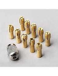 acmebuy (TM) 10pcs 0.5mm-3.2mm latón Dremel Collet Mini taladro mandriles 4,8mm vástago para Dremel herramientas rotatorias + 1pc 8x0.75molinillo eje tornillo tuerca Cap