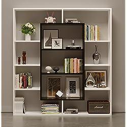 HOMIDEA Venus Étagère à Livres – Étagère – Meuble de Salle de séjour, Bureau au Design Moderne (Blanc/Noir)