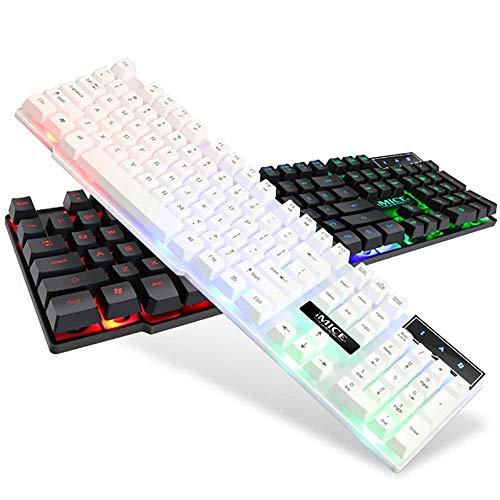 Gaming-Tastatur, kabelgebundenes USB, 3-Farben-Hintergrundbeleuchtung Floating Key Cap 104 Key (wasserdicht) - Schwarz, Weiß, Silber - Vista Usb-tastatur