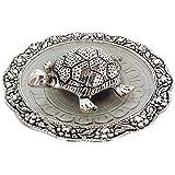 Paramveer Feng Shui/Vastu Metal Designer Turtle/Tortoise In Designer Silver Glass Plate For Wish Fulfilling