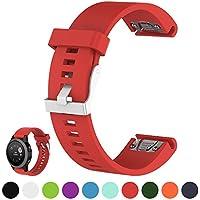 IFEEKER Correa para smartwatch con GPS, pulsera de repuesto, ancho de 20 mm, de silicona blanda, compatible con Garmin Fenix 5S / Sapphire  (solo correa de repuesto, smartwatch no incluido), rojo