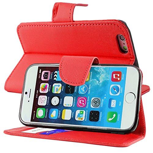 """ebestStar - pour Apple iPhone 6S 6 Plus écran 5,5"""" - Housse Coque Etui Portefeuille Support PU Cuir + Mini Stylet tactile + 3 Films protection écran, Couleur Rouge [Dimensions PRECISES de votre appare Rouge"""